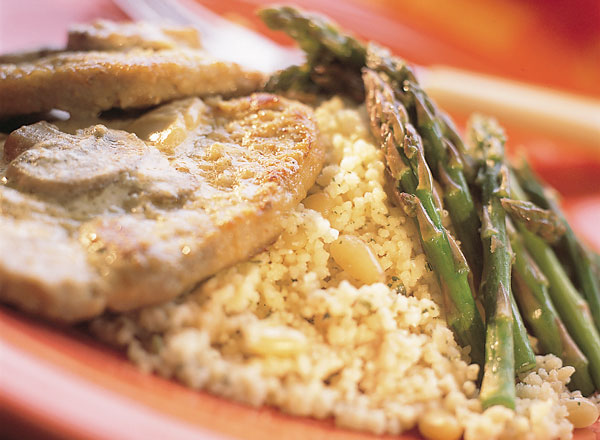 Veal in Champagne with Pesto Couscous