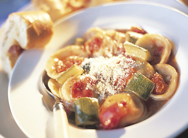Tomato-Cheese Ravioli Soup with Stuffed Baguette